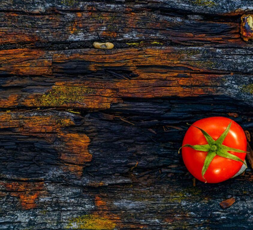 Tomato on table