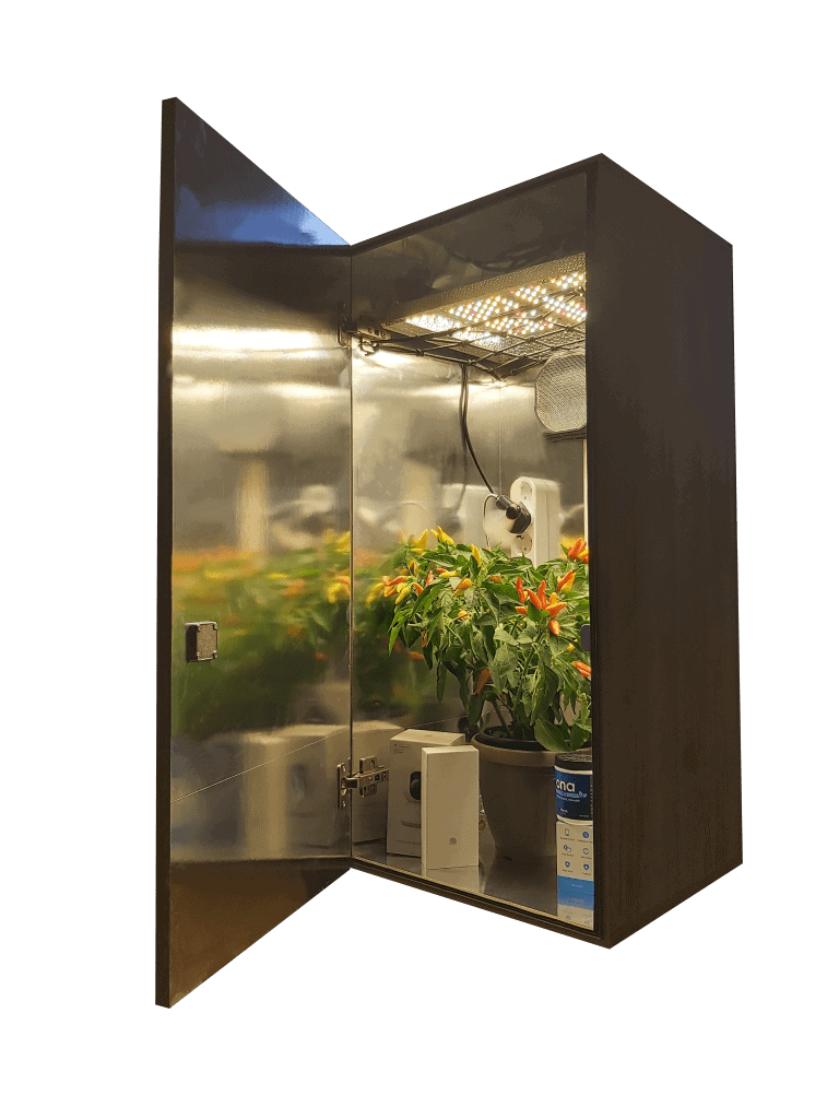 stealth led grow cabinet with led grow lights